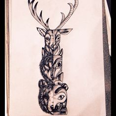 236x236 Animal Totem Pole Drawing Art Want This As Sleeve!!!!
