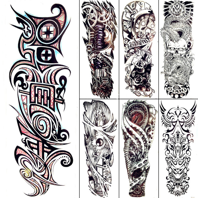 640x640 Black Totem Temporary Tattoo Men Cool Mechanical Arm Art Drawing