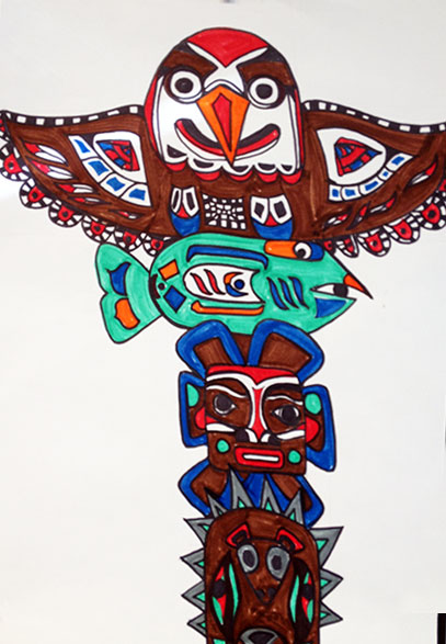 407x587 How To Draw A Totem Pole Artsmudge