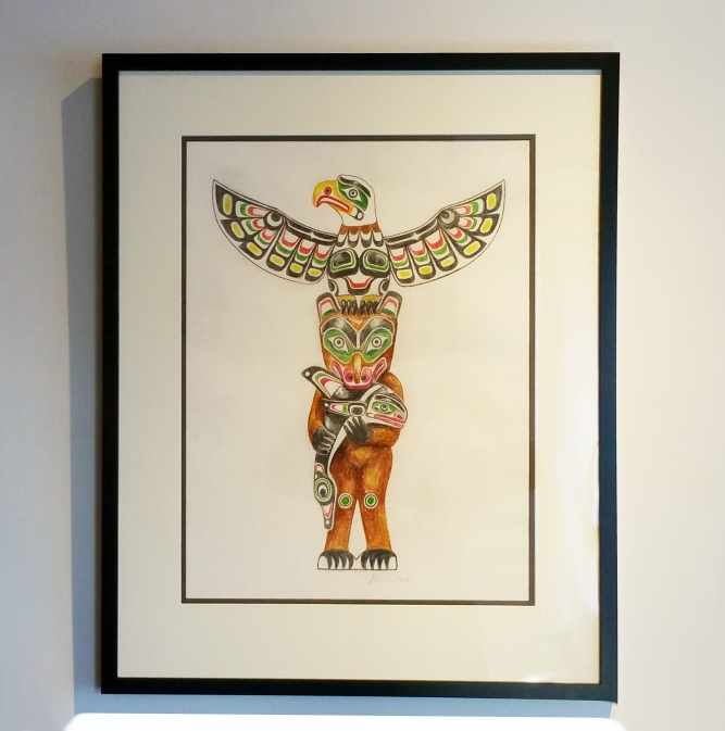 667x673 Totem Pole Drawing, Pencil Crayon On Paper, X $3,000 Cad