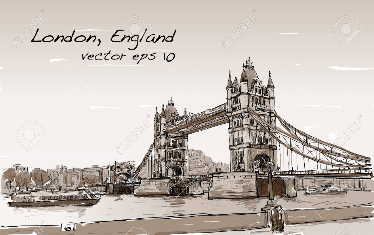 1300x818 Cityscape Drawing Sketch Tower Bridge, London, England In Sepia