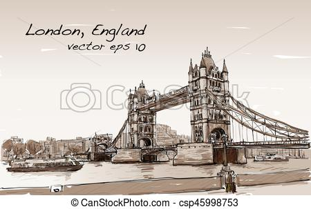 450x303 Cityscape Drawing Sketch Tower Bridge, London, England