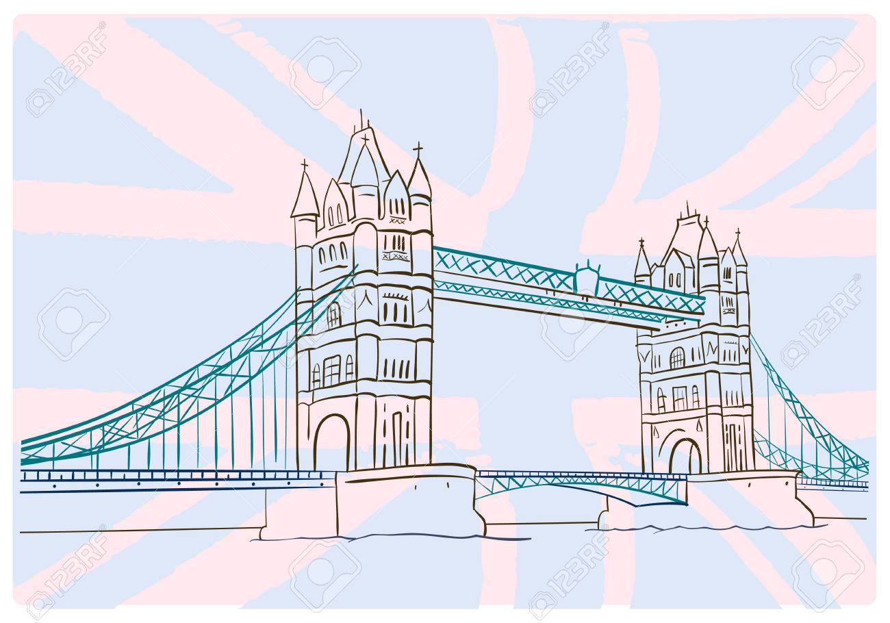 1300x910 Hand Draw Picture Of Tower Bridge. London. Royalty Free Cliparts