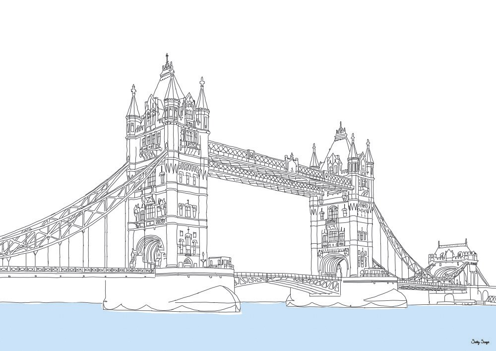 1000x707 London Tower Bridge, Line Art Print