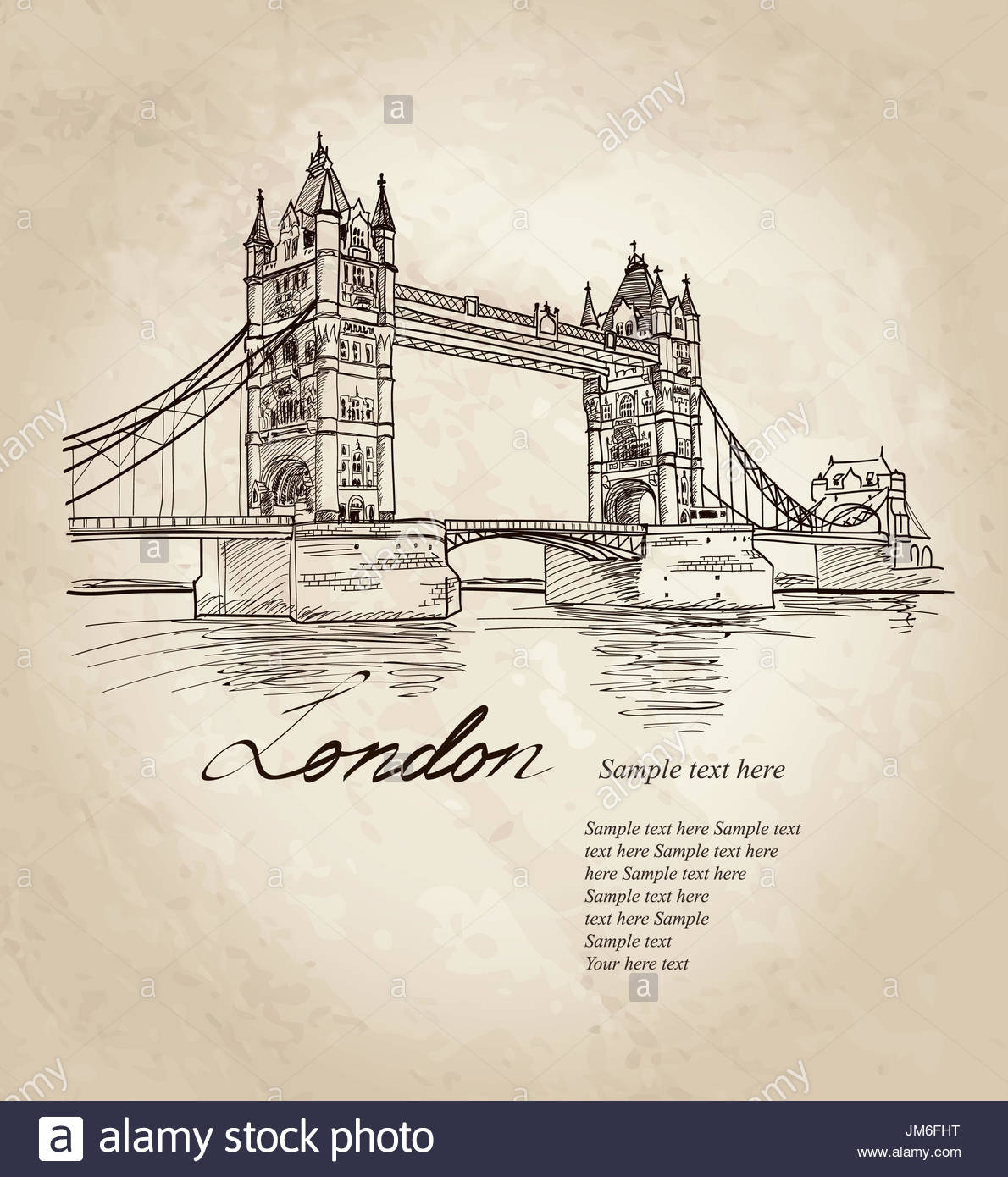 1190x1390 Tower Bridge, London, England, Uk, Europe. Hand Drawing Old