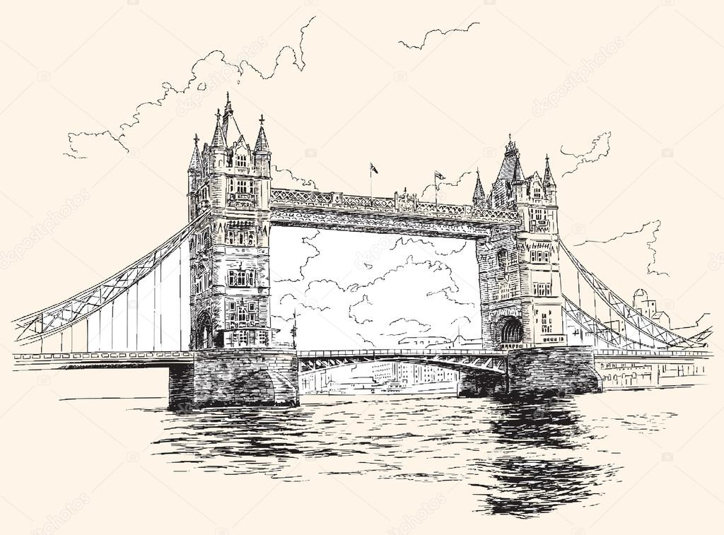 1024x757 Tower Bridge In London, Hand Drawing, Vector Illustration. Stock
