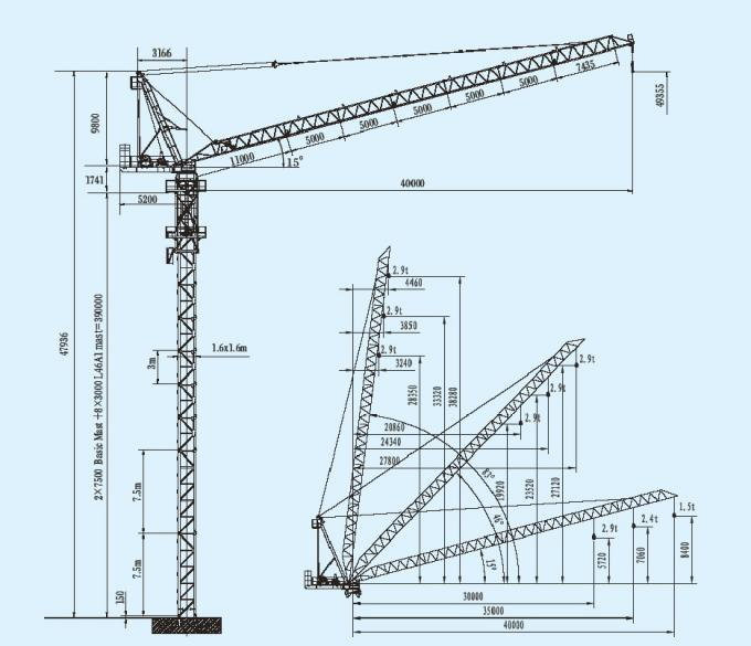 680x585 Building Luffing Tower Crane Jib Length 40m And Max Load 6 Ton