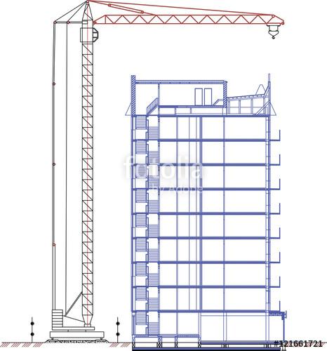 466x500 Crane Drawing, Tower Crane, Construction Crane Drawing