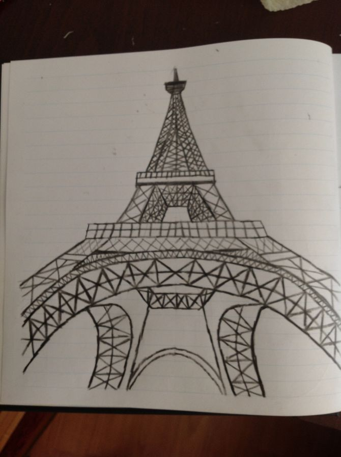 670x897 Draw The Eiffel Tower Tower, Drawings And Drawing Ideas