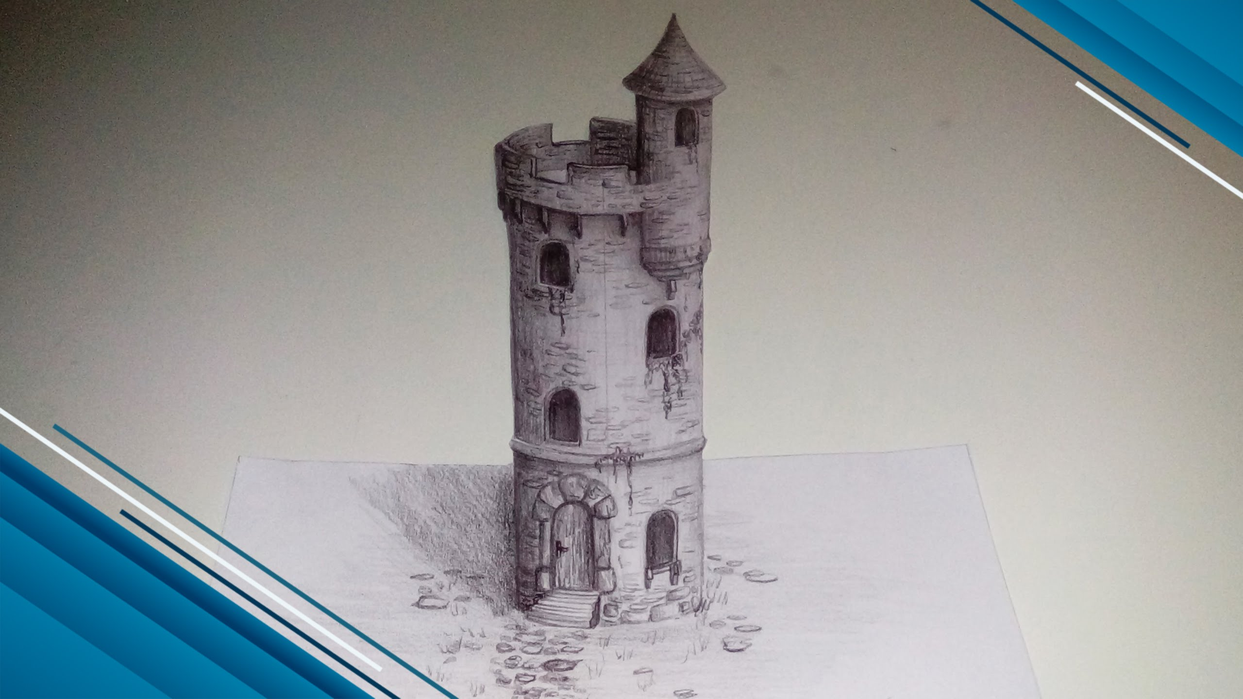 2560x1440 Drawing Medieval Tower