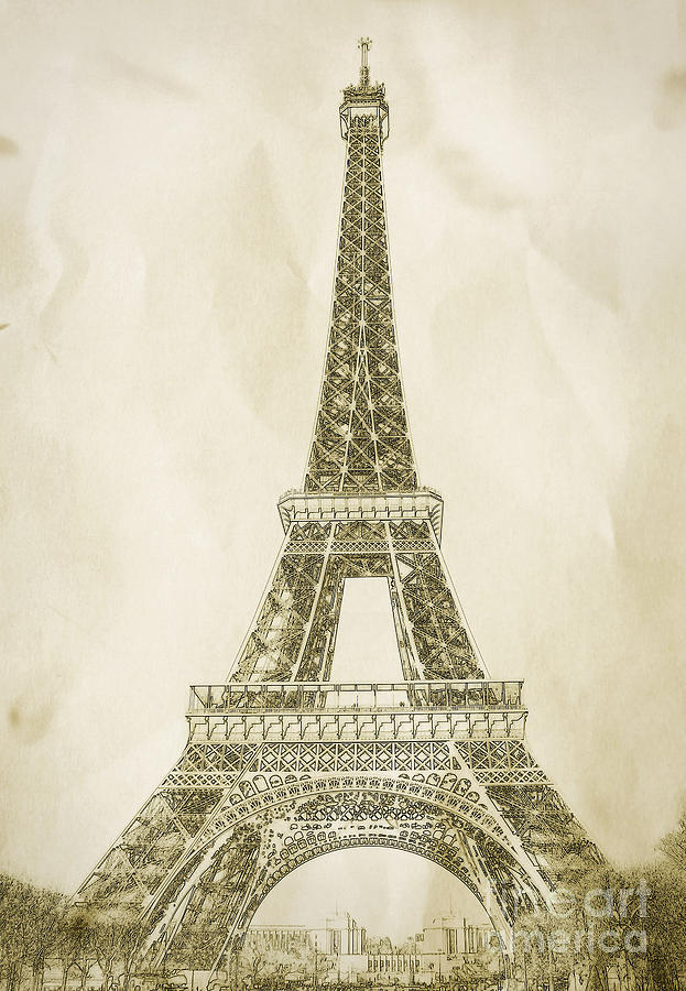 623x900 Eiffel Tower Illustration Digital Art By Paul Topp