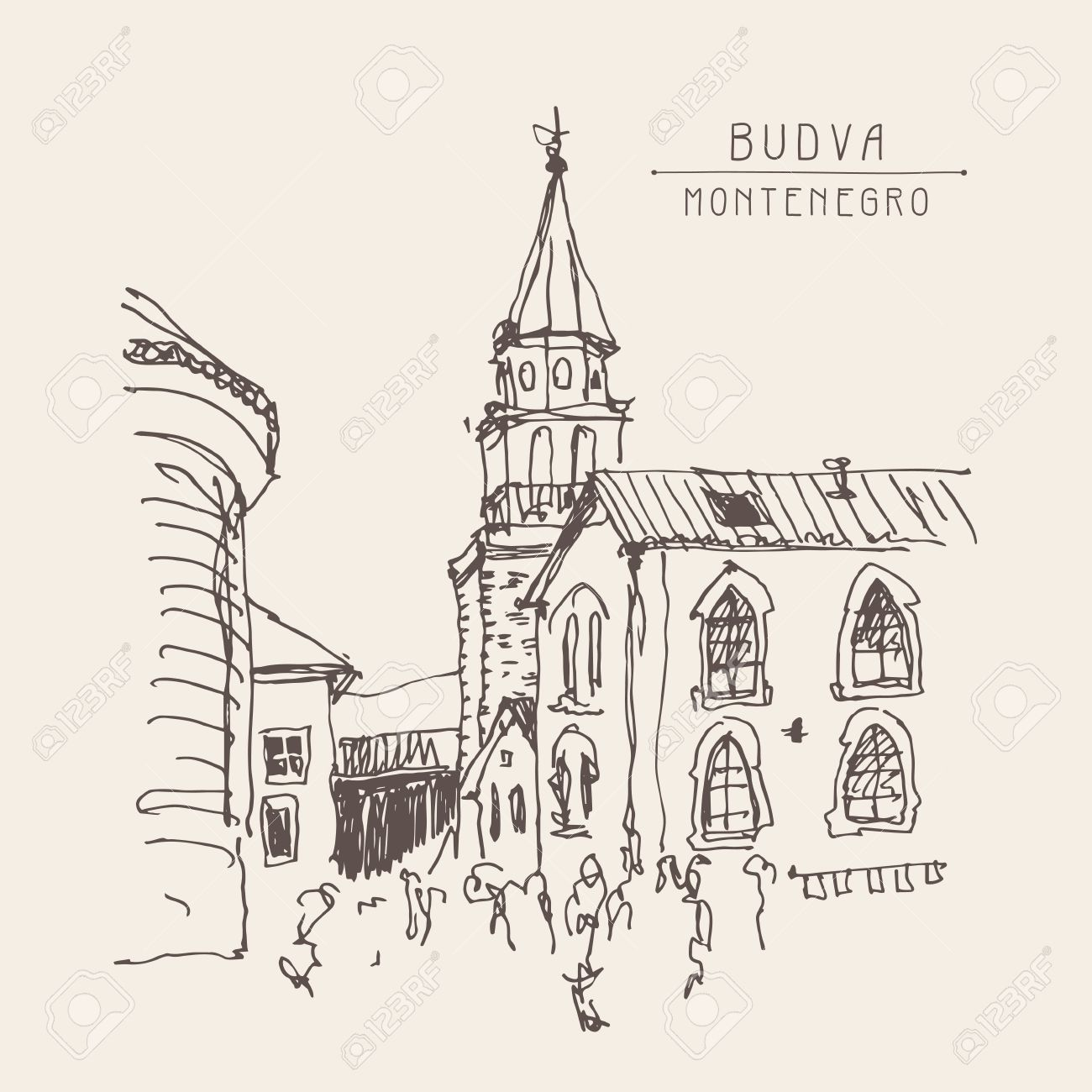 1300x1300 Sketch Drawing Of The Bell Tower Church Top View In Old Town