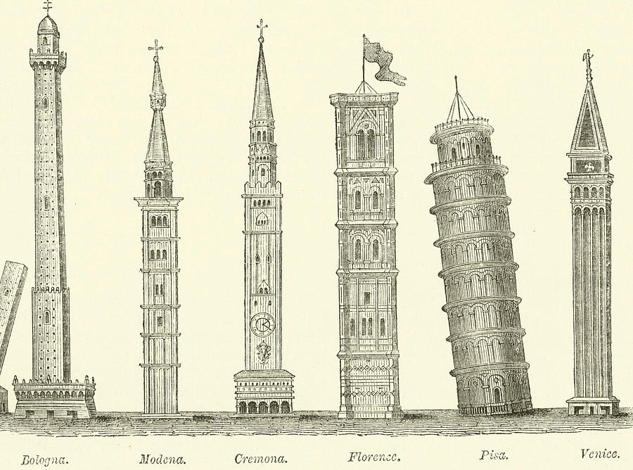 900x668 The Seven Great Towers Drawing By English School