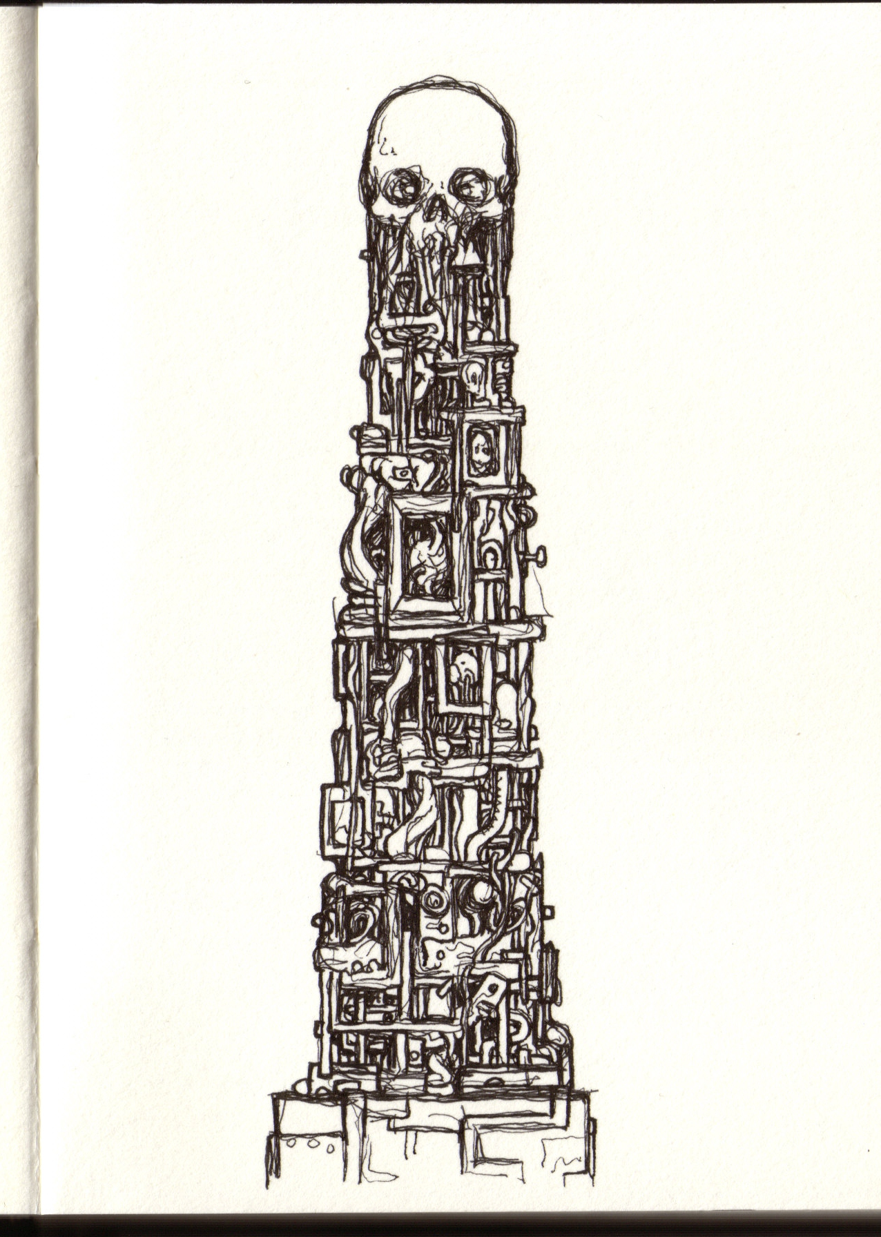1276x1792 Untitled Drawing (Idea For First Skull Tower Sculpture)