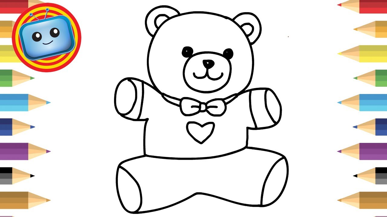 1280x720 How To Draw A Teddy Bear Colouring Book Simple Drawing Game