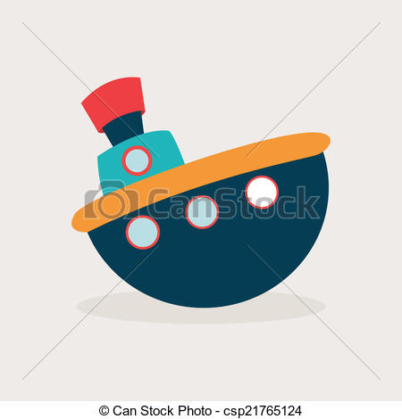 450x470 Toy Boat. Abstract Cute Toy On A White Background Vector
