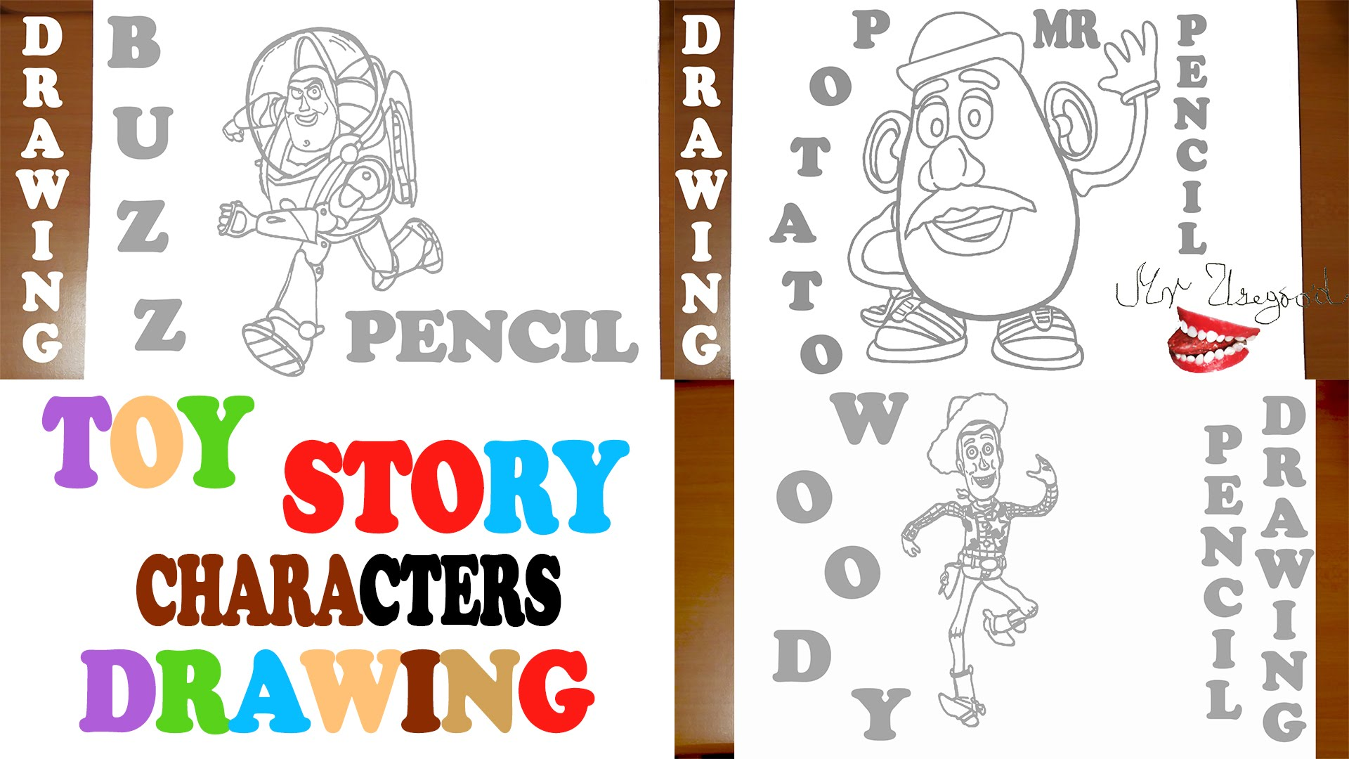1920x1080 How To Draw Toy Story Characters Woody, Buzz, Mr Potato Head