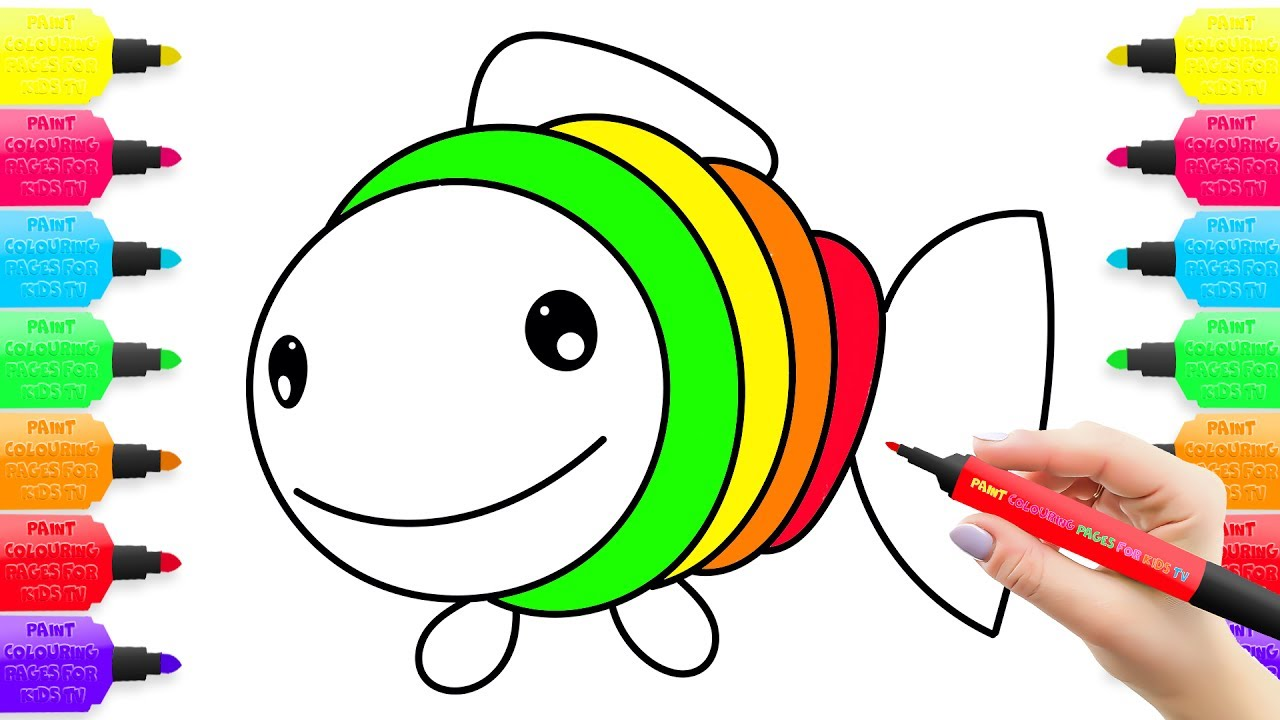 1280x720 Coloring Pages Fish, Learning Drawing For Kids How To Draw Toys