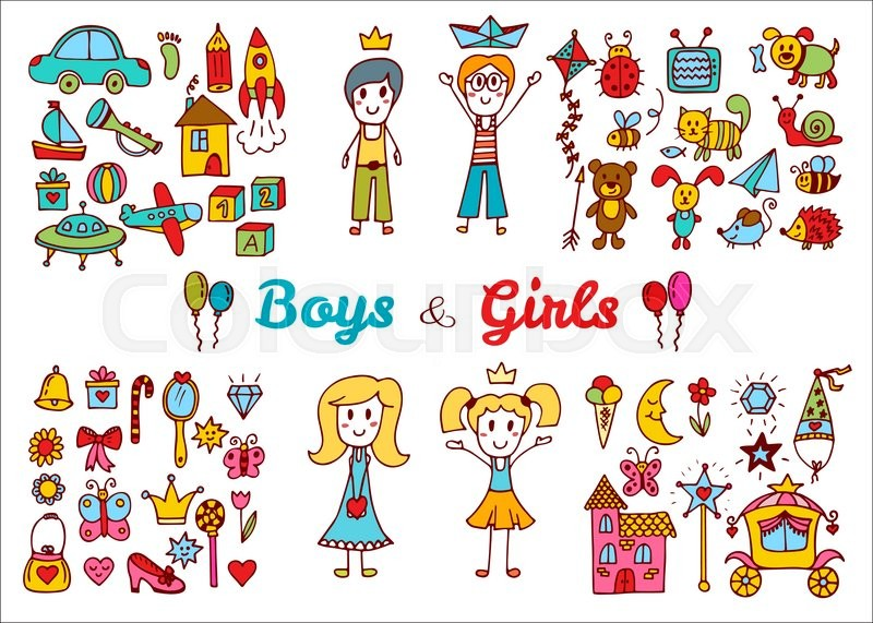 800x571 Hand Drawn Baby Boy And Girl Toys Set. Doodle Children Drawing