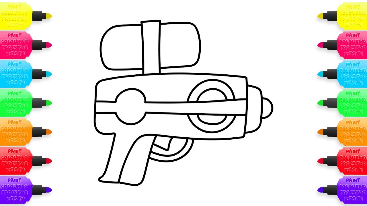 1280x720 How To Draw Water Gun, Coloring Book Toys For Kids Learning