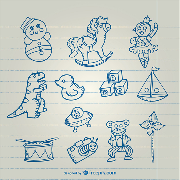 626x626 Toys Drawings Collection Vector Free Download