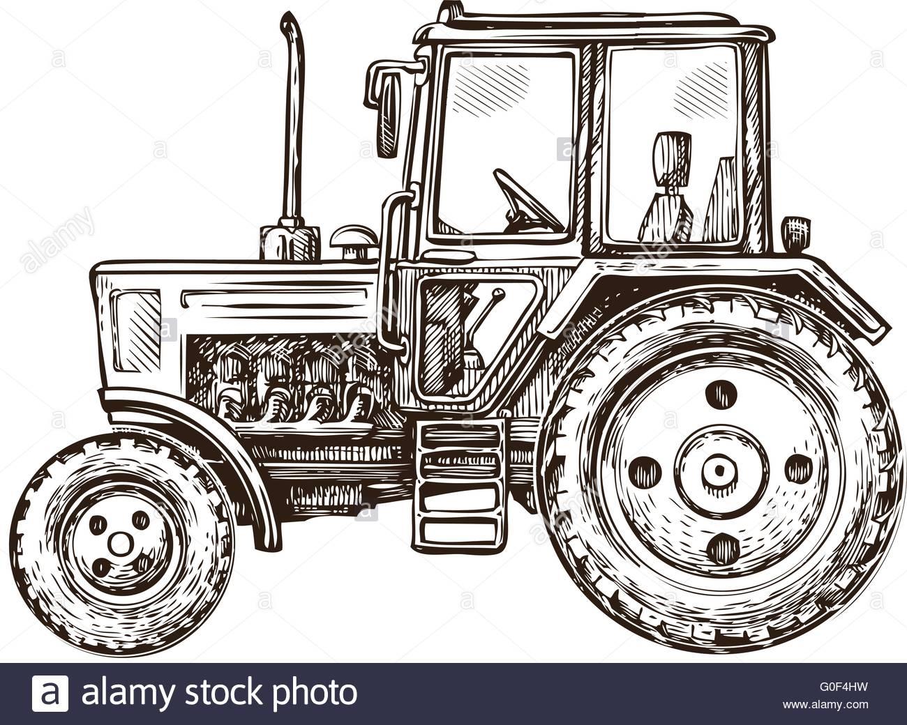 1300x1040 Farm Tractor Sketch. Hand Drawn Vector Illustration Stock Vector