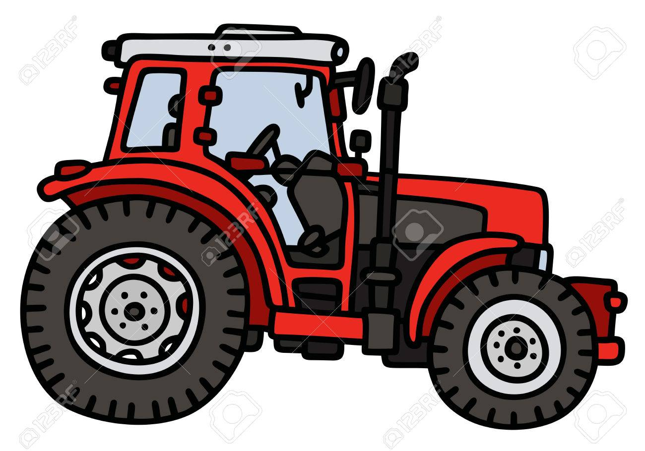 1300x910 Hand Drawing Of A Red Tractor