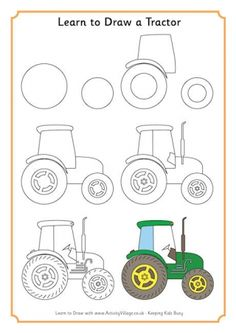 236x333 Step By Step How To Draw A Tractor Drawing Library