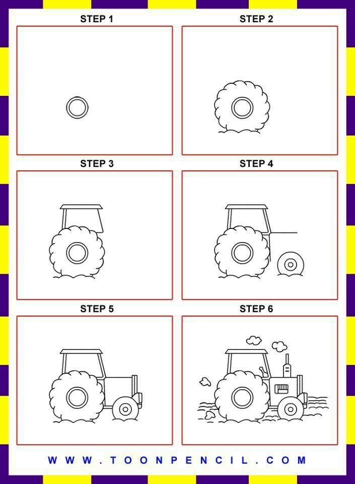 705x960 How To Draw A Tractor How To Draw Man Made Things Houses, Cars