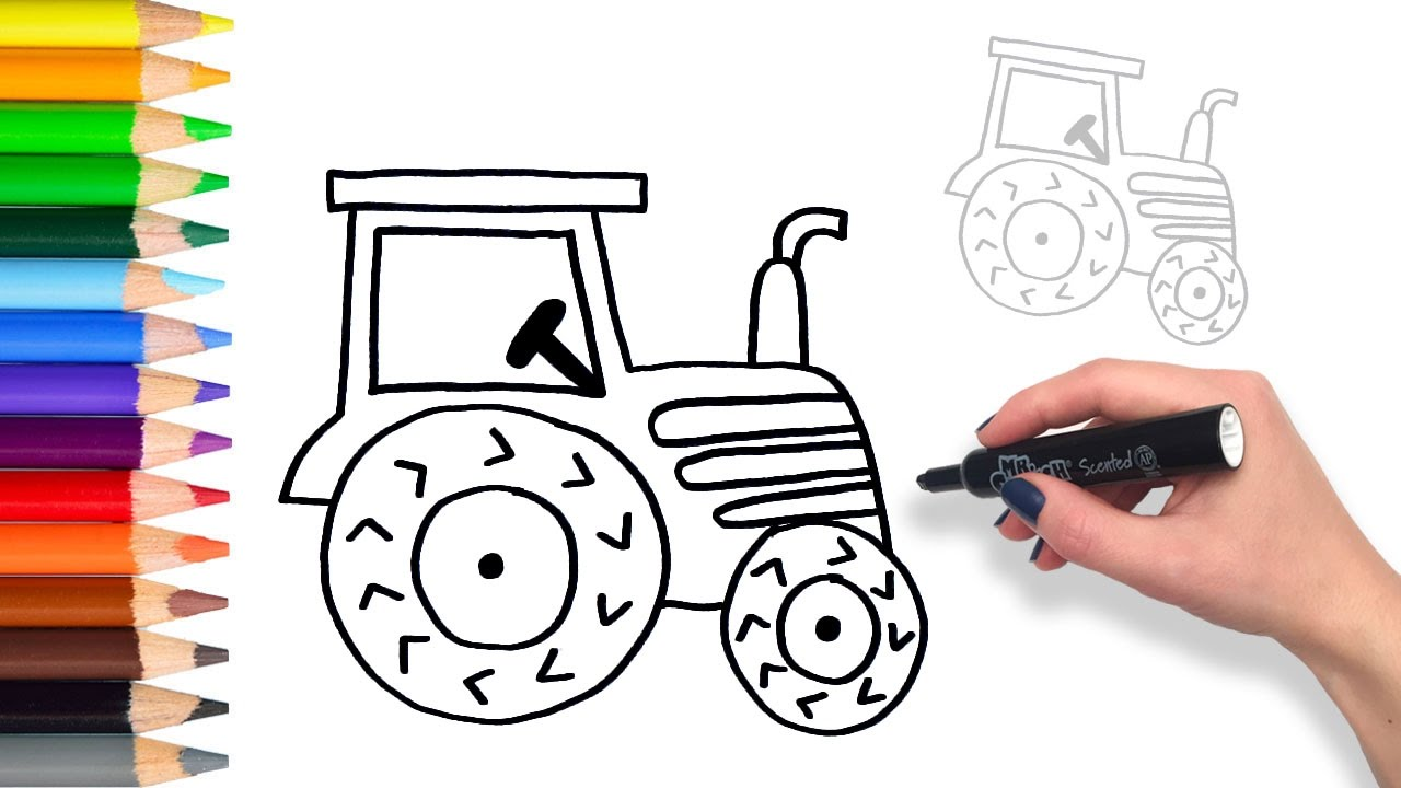1280x720 Learn To Draw A Tractor Teach Drawing For Kids And Toddlers