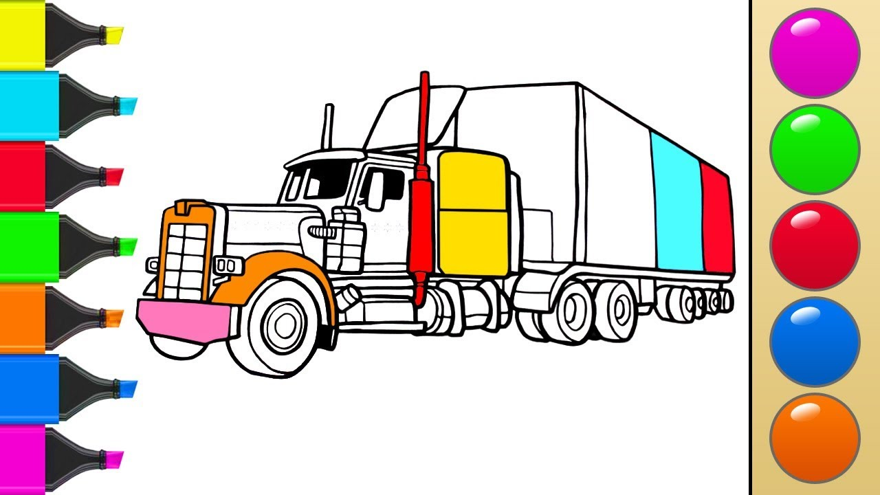 1280x720 How To Draw A Truck Or Tractor Trailer. Art Colors For Children
