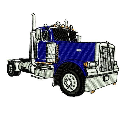 500x500 Semi Semi Trailer Truck Tractor Trailer 2 Embroidery Design