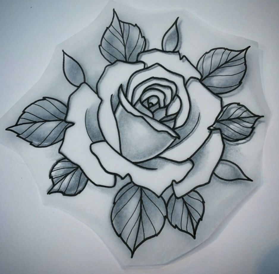 939x923 Traditional Rose Drawing Download Rose Tattoo Neo Traditional