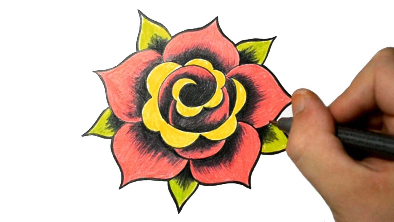 1280x720 Traditional Rose Drawing How To Draw A Simple Rose Tattoo Design