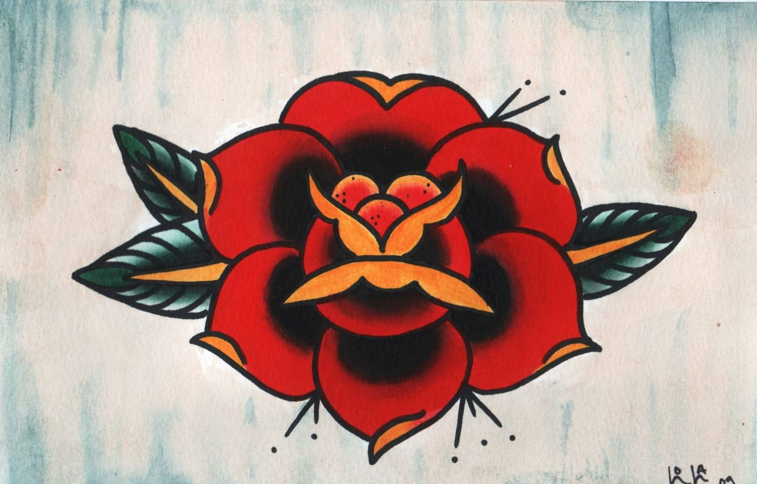 Traditional American rose tattoo designs