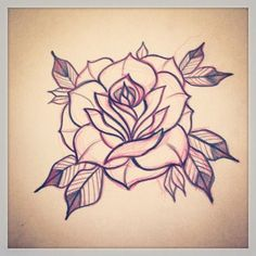 236x236 Traditional Rose Tattoo Traditional Rose Tattoo Linework By