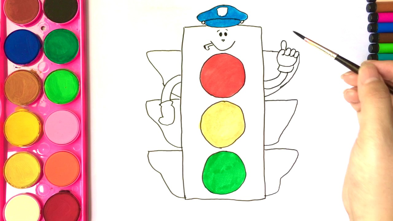 1280x720 Coloring Pages For Kids I Draw Traffic Light I Learn Colors