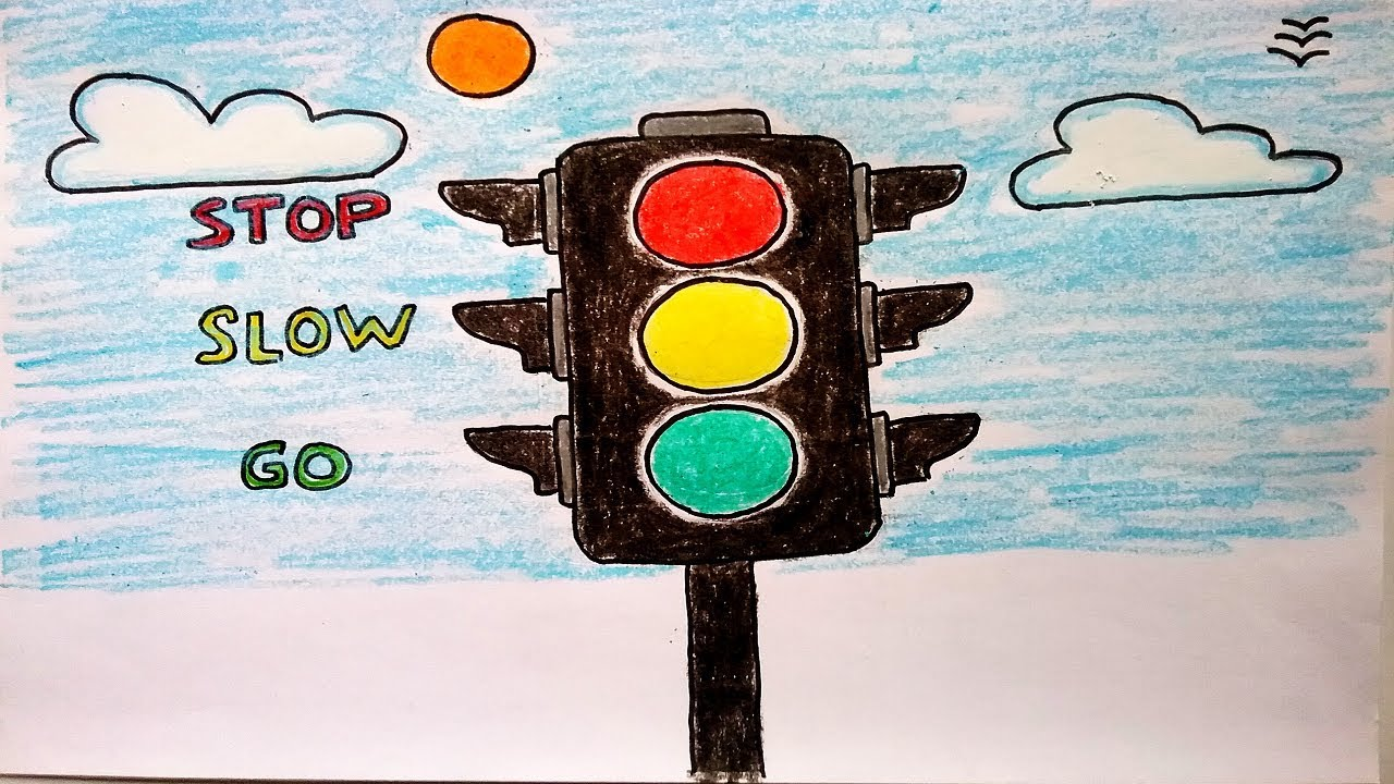 1280x720 How To Draw Traffic Lights Easy For Kids. Traffic Signals. Traffic