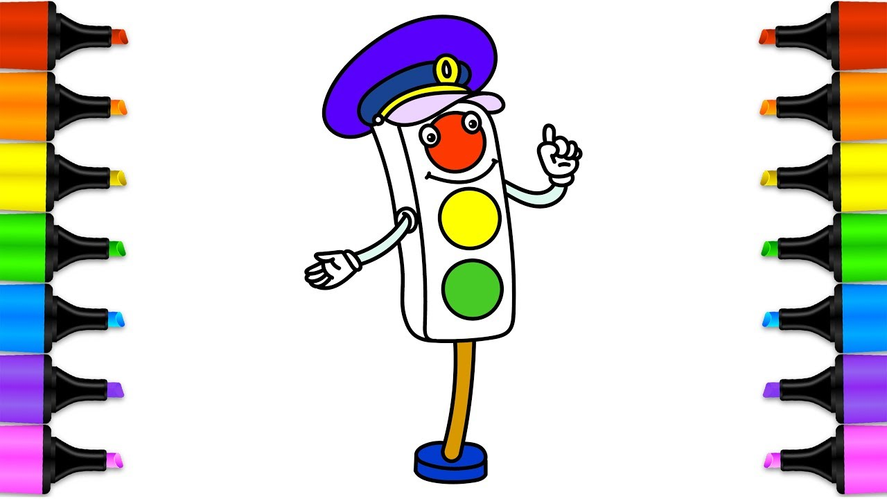 1280x720 Learn Drawing For Kids With Coloring Pages Traffic Lights Signal