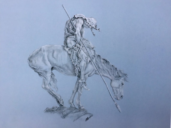 570x428 Items Similar To Pencil Drawing Print, End Of The Trail End