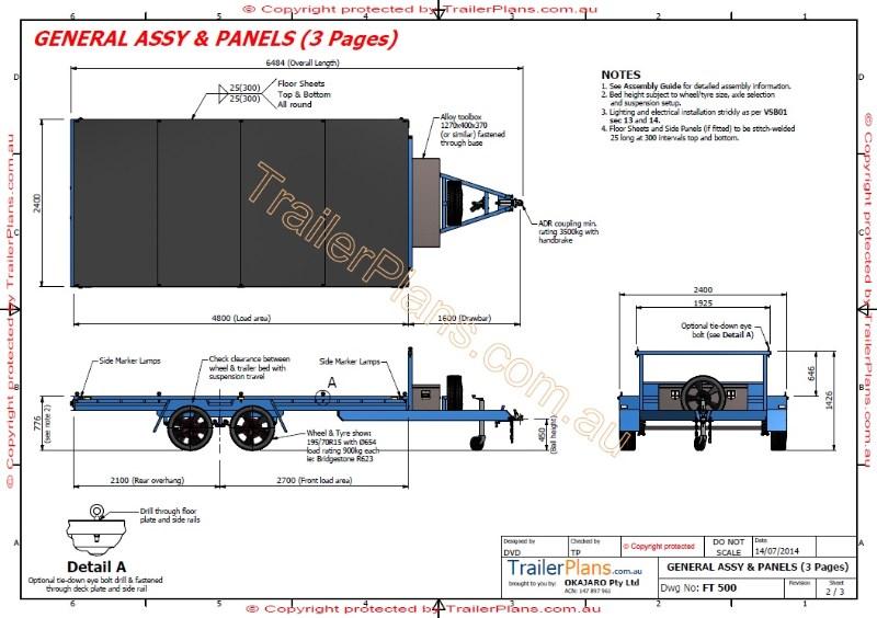 800x564 4.8m Flat Top Trailer Plan