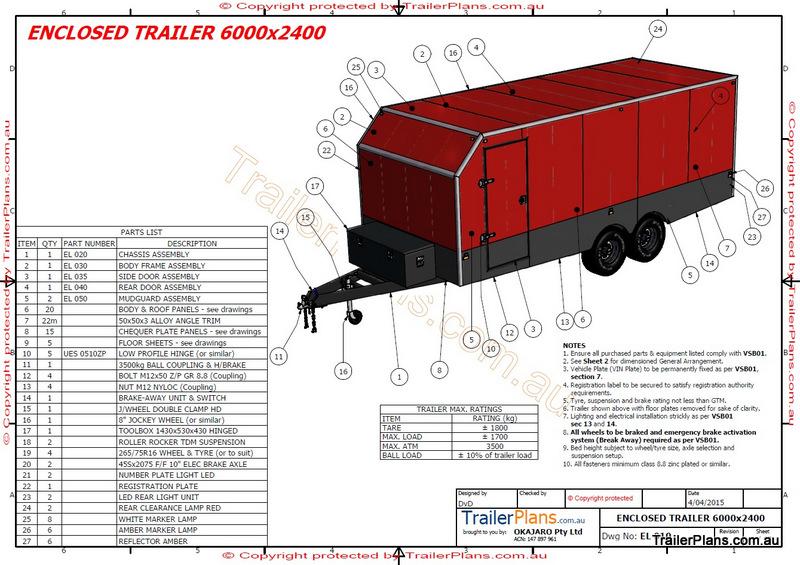 800x565 6m Enclosed Trailer Plan