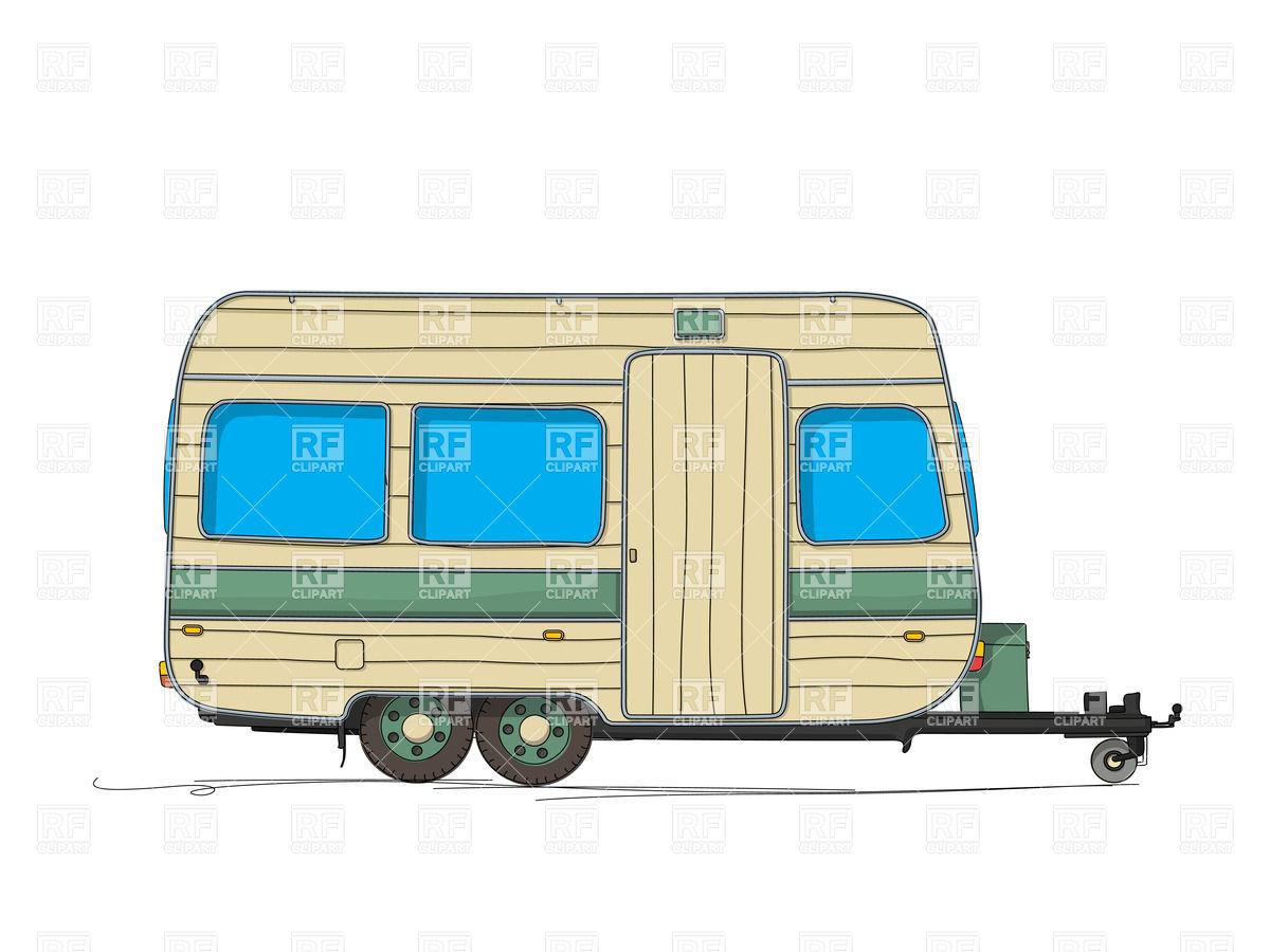 1200x900 Caravan (Trailer) Cartoon Drawing Royalty Free Vector Clip Art