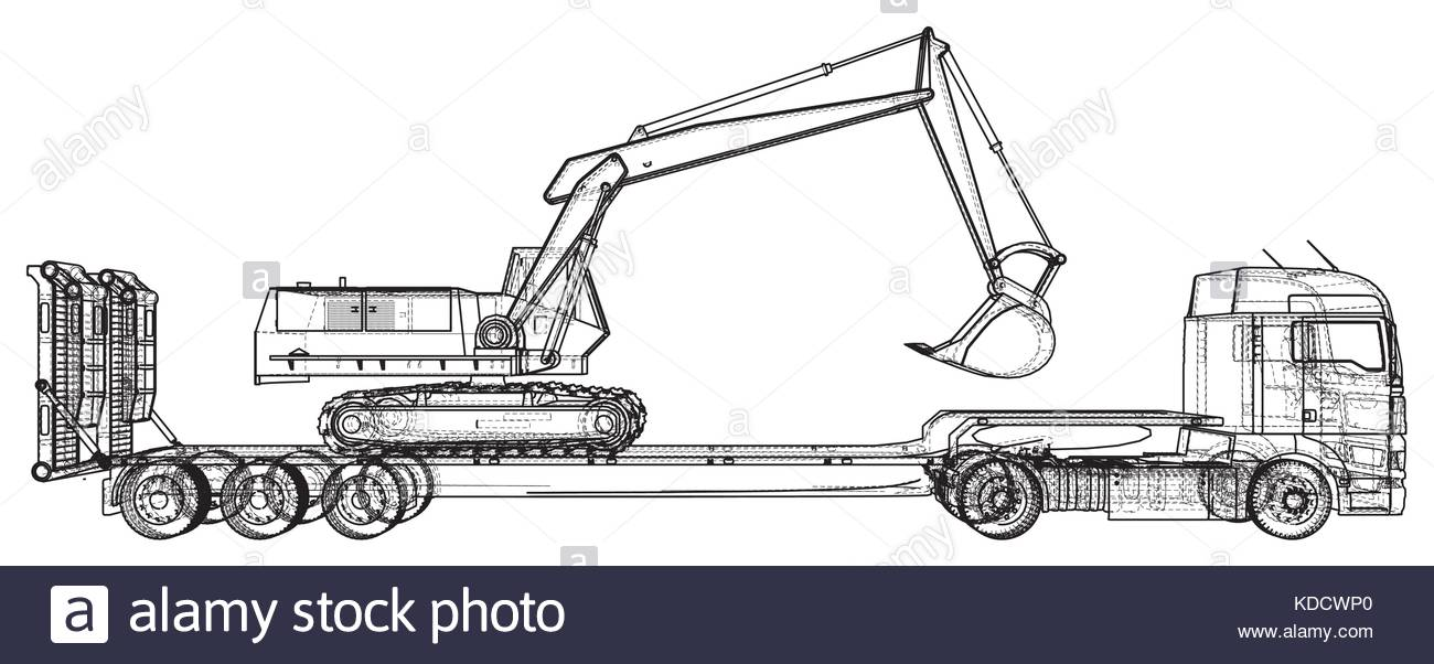 1300x602 Low Bed Truck Trailer And Excavator. Abstract Drawing. Tracing