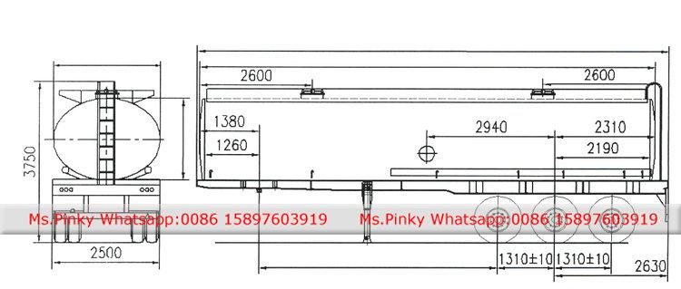 750x319 Stainless Steel Liquid Caustic Transportation Semitailer 37500l