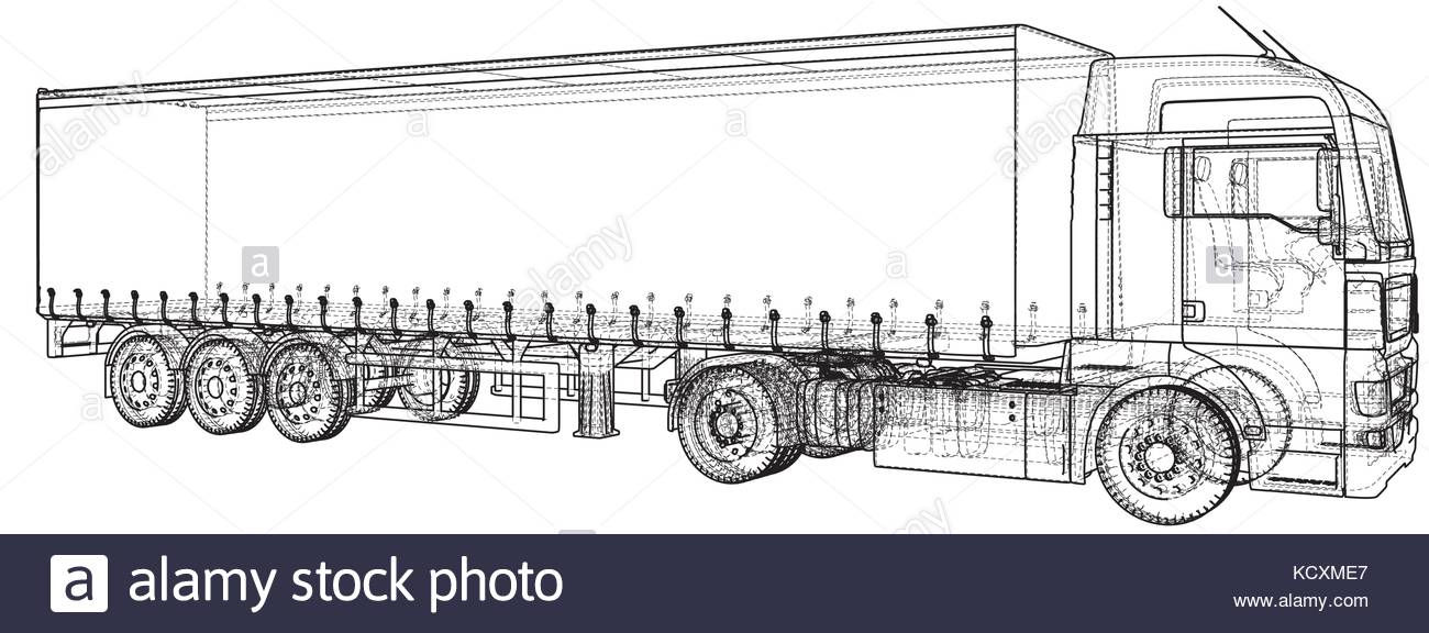 1300x576 Trailer Truck. Abstract Drawing. Tracing Illustration Of 3d Stock