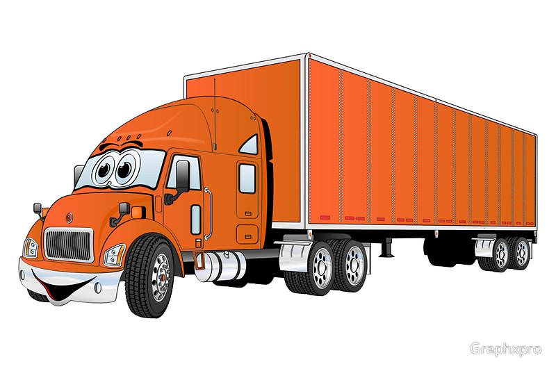 800x534 Semi Truck Orange Trailer Cartoon Art Prints By Graphxpro Redbubble