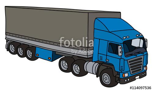 500x300 Semi Trailer Truck Hand Drawing, Vector Illustration Stock