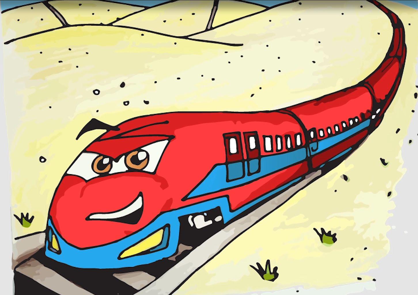 1451x1023 Draw A Fast Cartoon Train