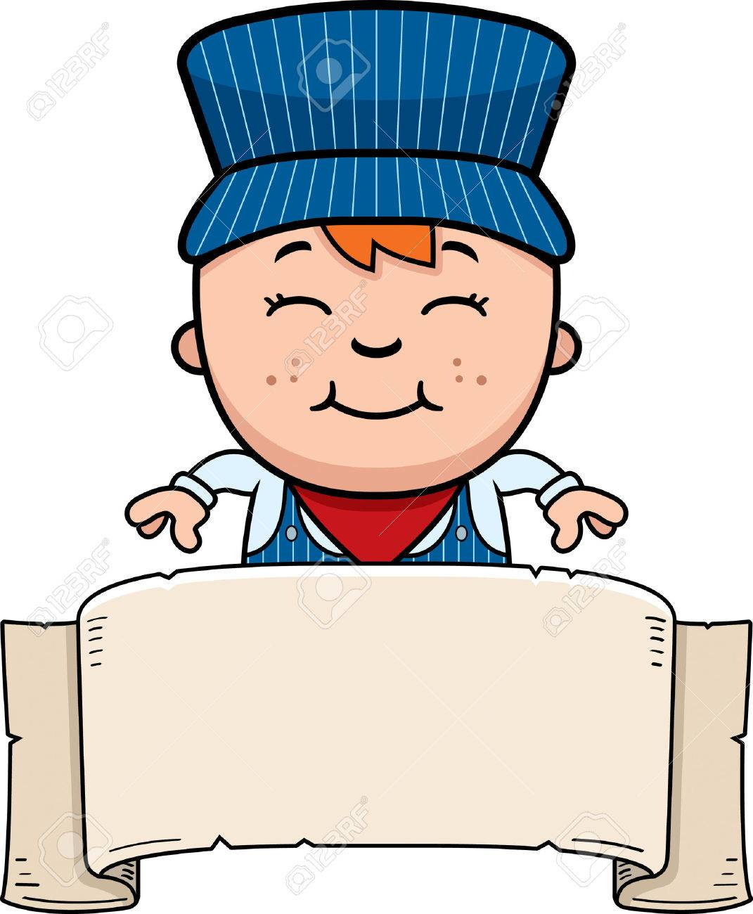 1071x1300 A Cartoon Illustration Of A Boy Train Conductor With A Banner